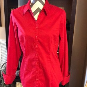 New York & Company Red Stretch Blouse Medium